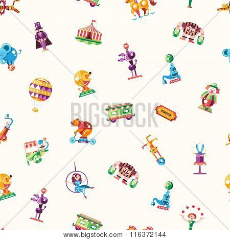 Circus, carnival icons and infographic elements seamless pattern