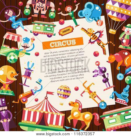Circus, carnival icons and infographic elements postcard