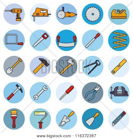 Crafting Tools Round Filled Line Icons Vector Set. Collection of filled line tools and crafting icons in blue circles