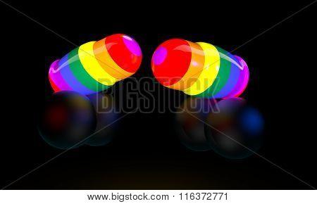Neon dolls on a black background, gay, lgbt