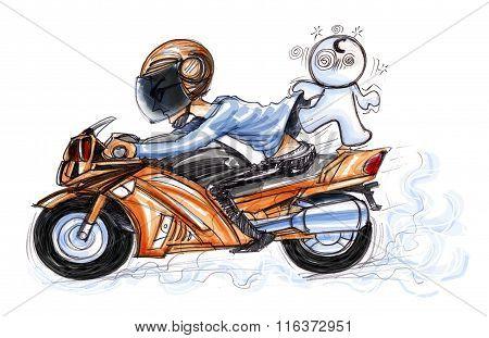 Speedy Big Bike Joke Cartoon