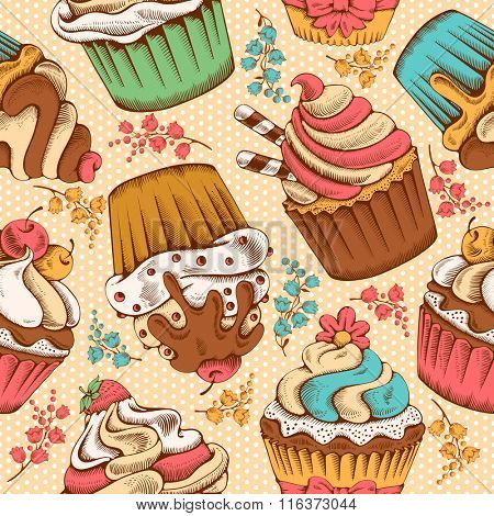 Seamless pattern of sweet bakery decorated cupcakes hand drawn in vintage engraved style. Vector illustration.