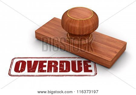 Stamp Overdue.  Image with clipping path