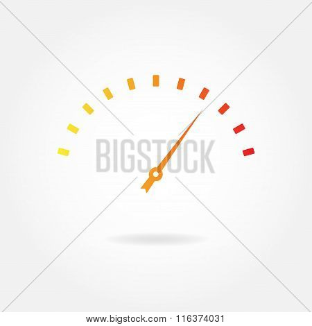 Speedometer icon or sign with arrow. Infographic gauge element. Vector illustration.