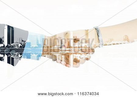 Double Exposure Of Man And Woman Shaking Their Hands