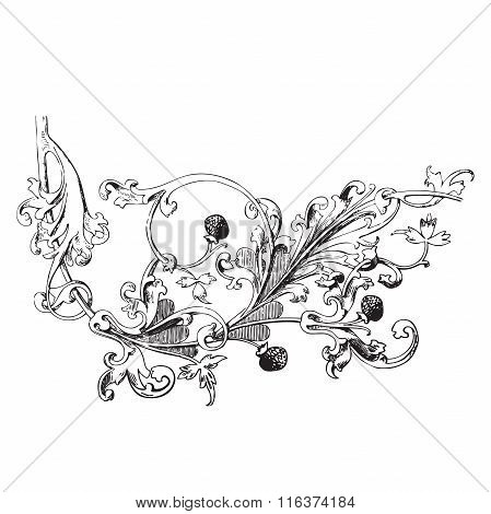 Hand Drawn Illustration Of Raspberry Branch Baroque Vector