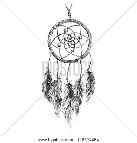 Watercolor Black And White Monochrome Ethnic Tribal Hand Made Feather Dreamcatcher Isolated