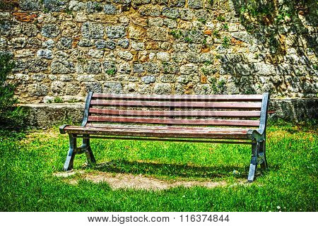 Wooden Bench In Hdr