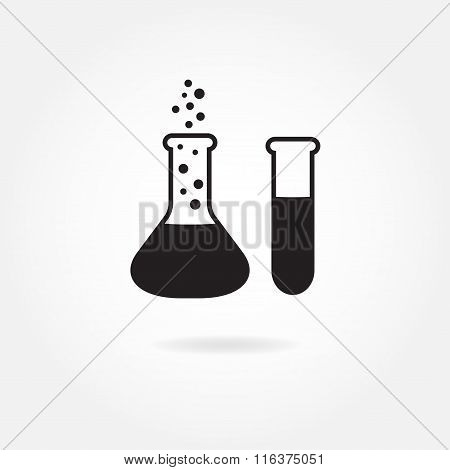 Laboratory glass: flask and test-tube. Vector icon or sign.