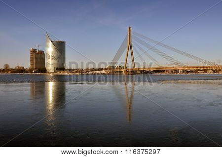 Cable-stayed bridge in Riga