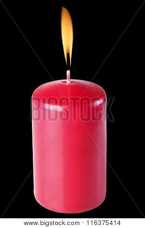 Red Candles, Burning, Isolate On A Black Background, Flames.