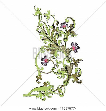 Hand Drawn Illustration Of Twig With Flowers And Leaves Baroque Vector. Cornflowers.