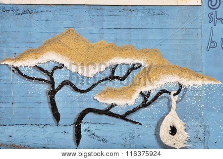 Winter graffiti on a wall