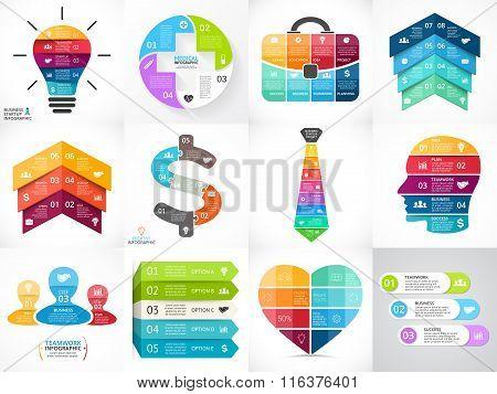 Creative vector arrows infographics set, diagrams, graphs, charts. 3, 4, 5, 6, 7, 8 cycle options, p