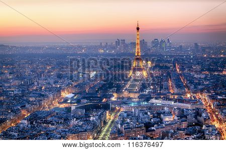 Paris - February 3: Eiffel Tower At Night On February 3, 2015 In Paris. Night In Paris With Eiffel T