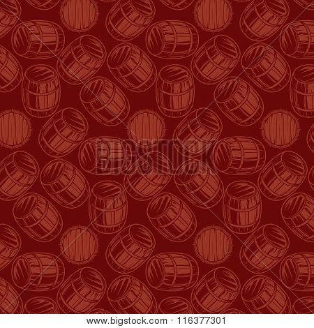 Seamless Background With Barrels For Drinks On Brown Background