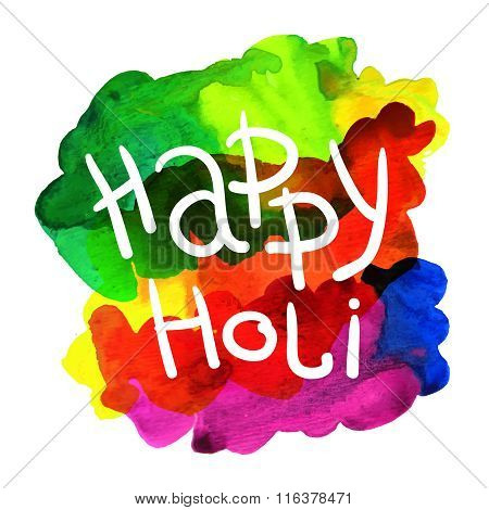 lettering happy holi