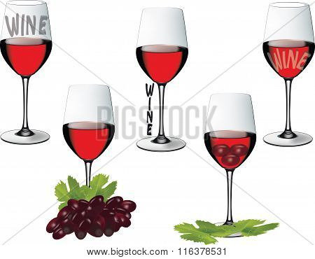 crystal glass with wine