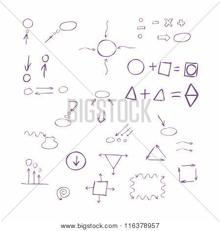 Thin Hand Drawn Arrows, Talk Bubble, Geometric Shapes With Shadow, Mathematical Signs Painted Purple
