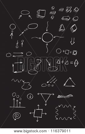 Thin Hand Drawn Arrows, Talk Bubble, Geometric Shapes With Shadow, Mathematical Signs Painted White