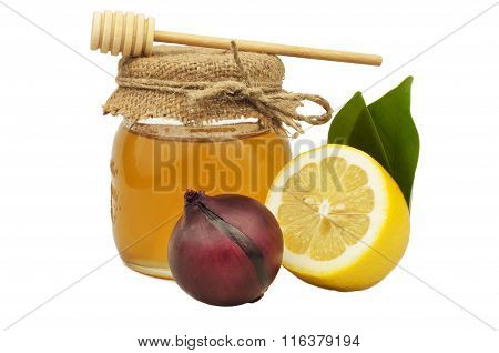 Honey In Glass Jar Lemon Onion