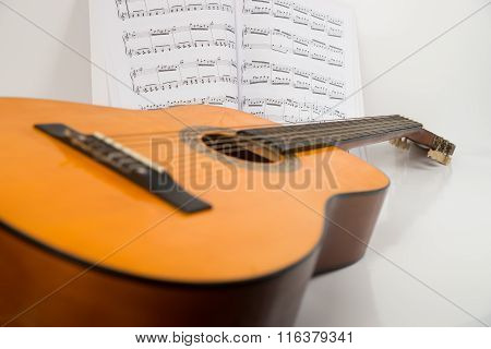 Acoustic guitar with notes isolated