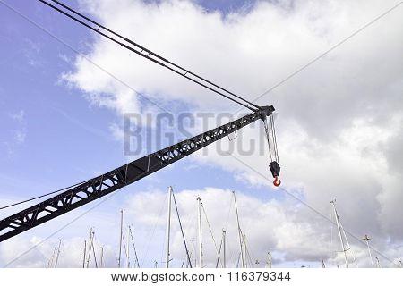 Detail Of A Old Crane In Marina Belem Harbour