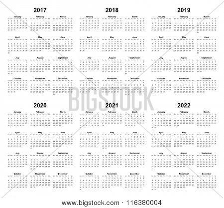 simple editable vector calendar 2017 2018 2019 2020 2021 2022