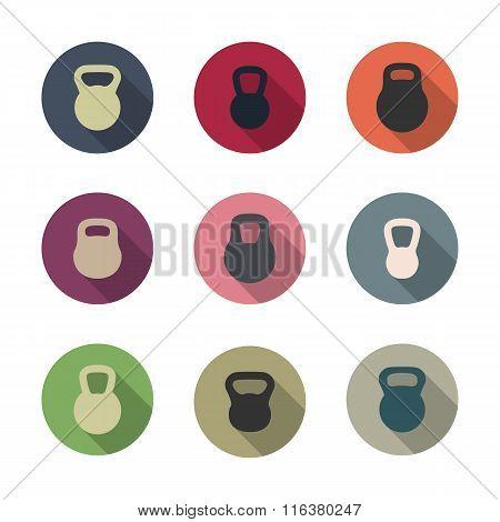 Icons Kettlebells, Vector Illustration.