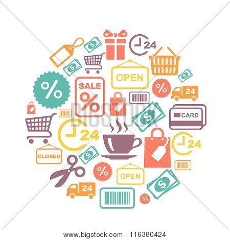 card with shopping supermarket services colored icons
