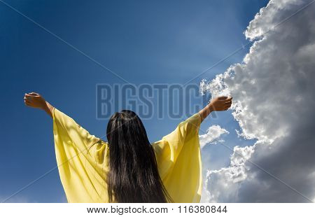 Women And Fresh Sky In Concept Of Freedom And Cheerful