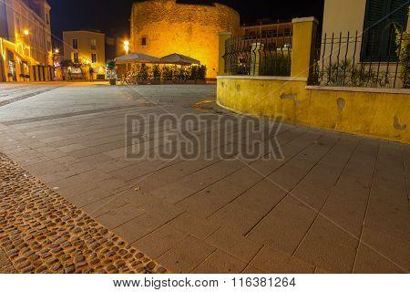 Largo San Francesco In Alghero By Night