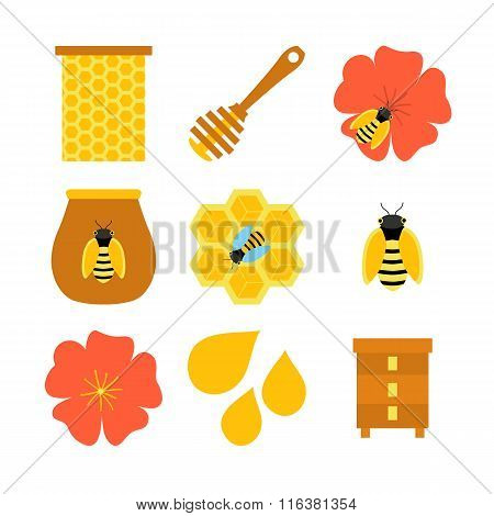 Honey Bee Apiculture Isolated Objects On White