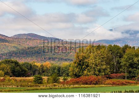 Colorful Mountain In Maine In Fall