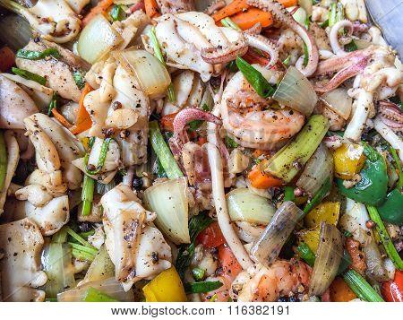 Closeup Stir Fried Seafood With Black Pepper - Thai Food