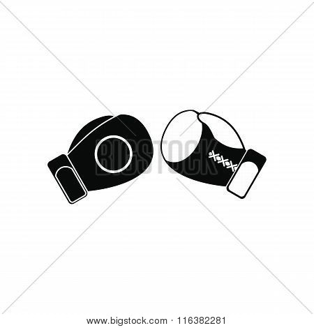 Boxing gloves black simple icon