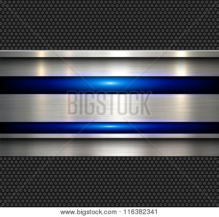 Background, polished metal texture with blue glossy lines, vector illustration.