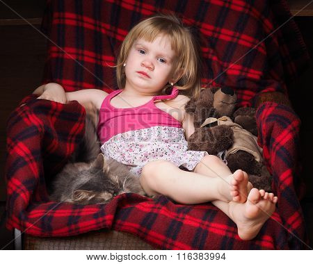 Portrait of a little girl with a toy bear and pet - a cat