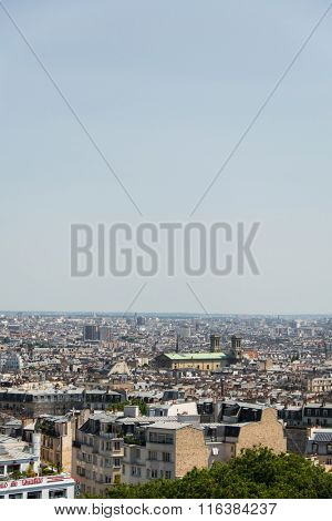 Skyline of Paris on bright summer day