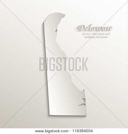 Delaware map card paper 3D natural vector