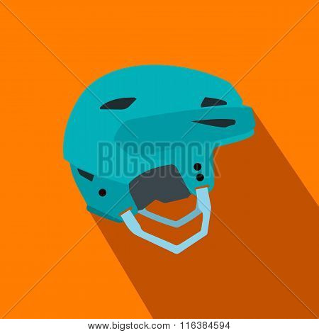 Blue hockey helmet flat icon