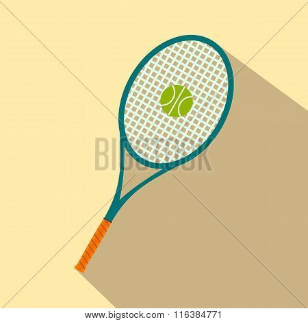 A tennis racquet and a ball flat icon