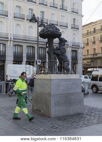 Street Cleaner Removes Approximately Symbol Of Madrid