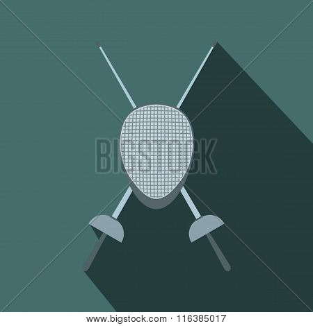 Fencing swords and helmet mask flat icon