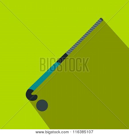Stick for field hockey and ball flat icon