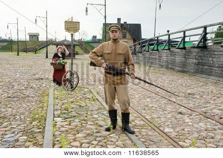 Lady And Soldier With  Gun In Retro Style Picture