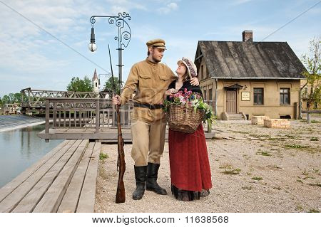 Couple Of Lady And Soldier In Retro Style Picture