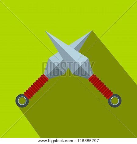 Ninja weapon kunai throwing knifes flat icon