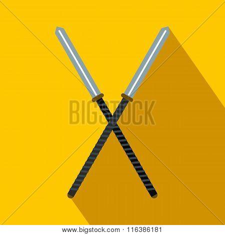 Japanese kendo sword flat icon