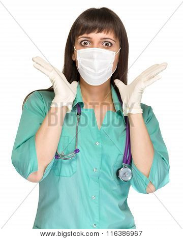 surprised female medical doctor with mask isolated